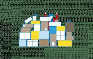 Mitarbeiter steht hinter Paketen (grafisch)