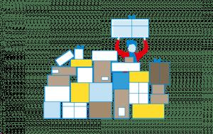 Mitarbeiter stapelt Pakete (grafisch)