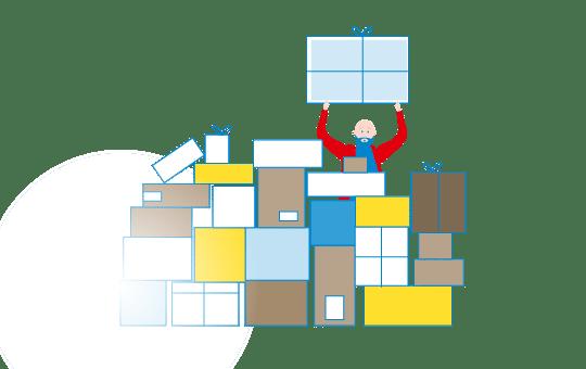 Simon Kühn stapelt Pakete (grafisch)