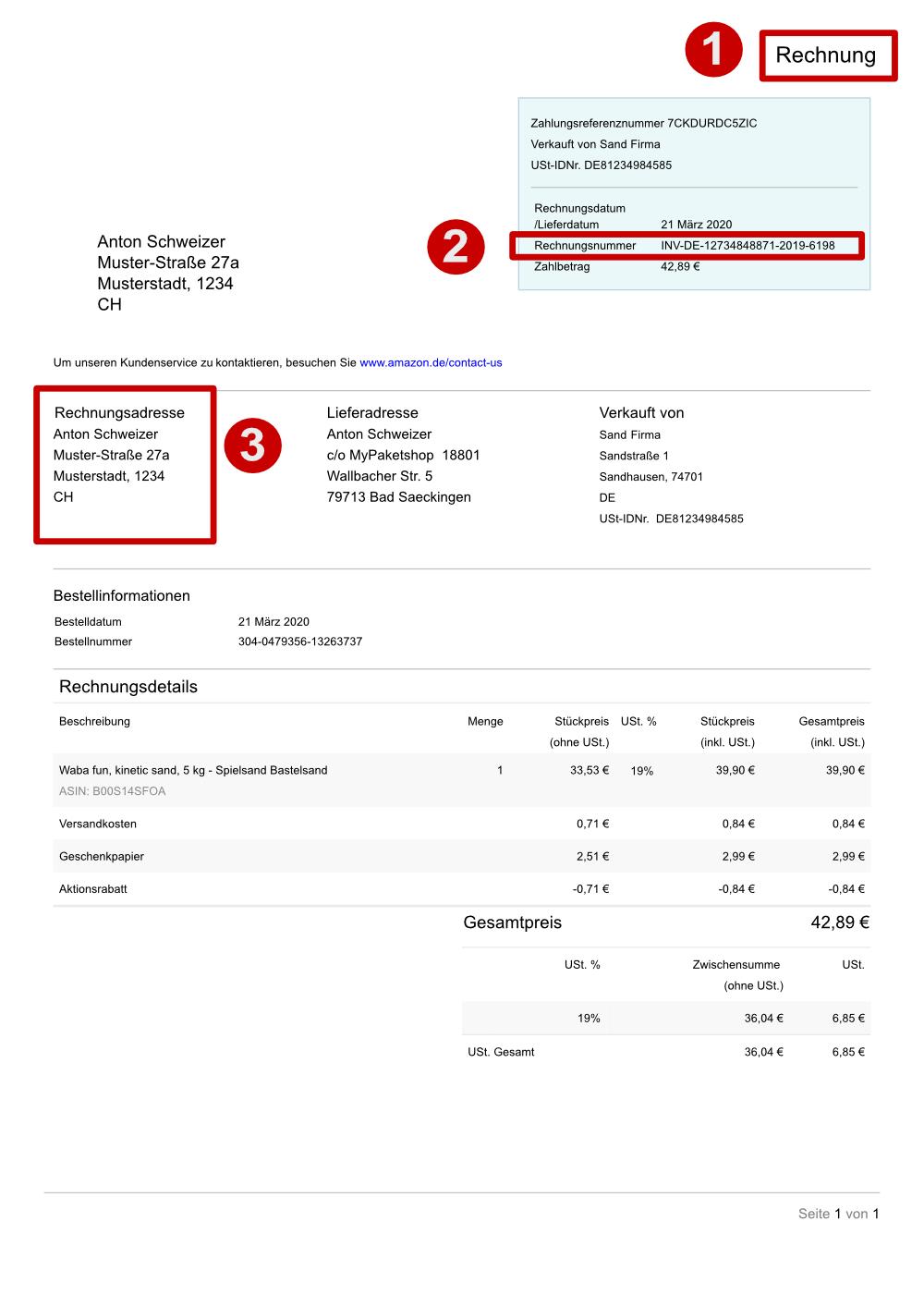 Online-Shop-Rechnung für Verzollung