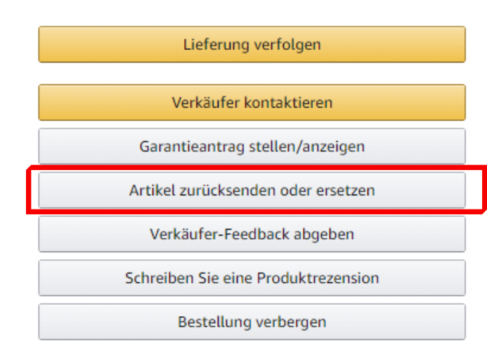 Rücksendungsmenü Amazon