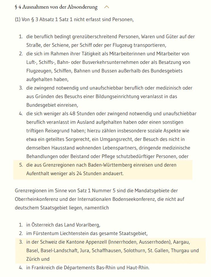 Screenshot Corona-Verordnung Baden-Württemberg