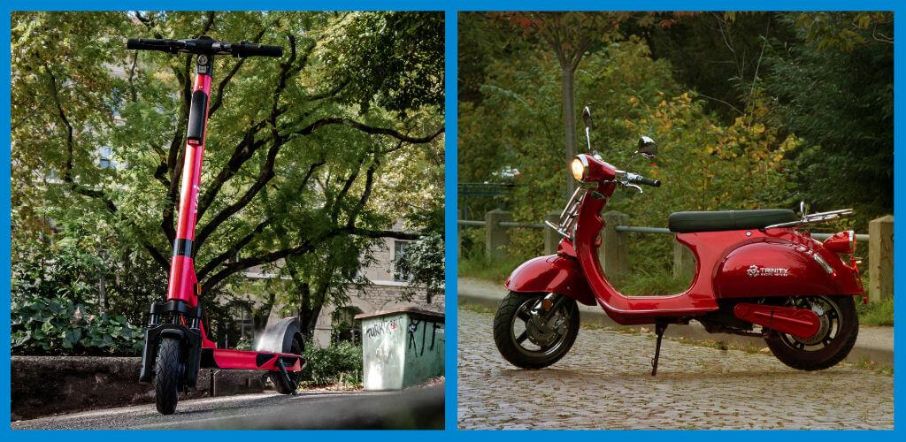 E-Scooter und E-Roller im Bild als Vergleich