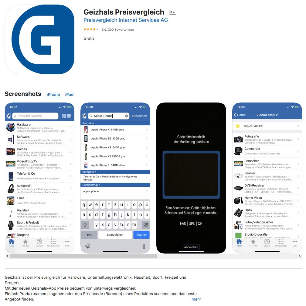 Geizhals-App im Appstore