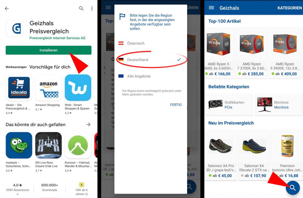 Geizhals-App nutzen 1
