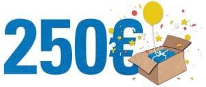 Gutschein über 250 Euro - Hintergrund weiß