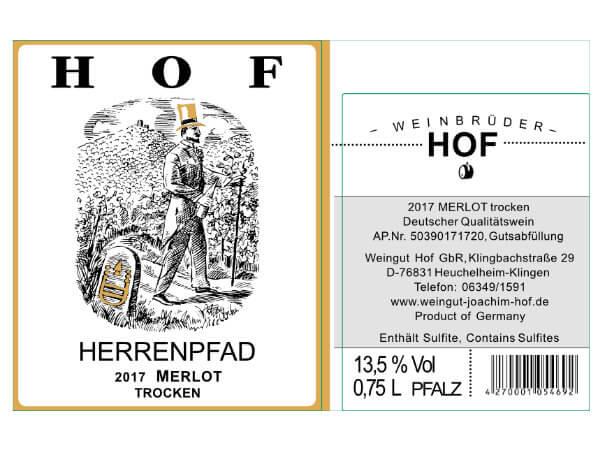 Etikett Herrenpfad Merlot - Weingut Hof