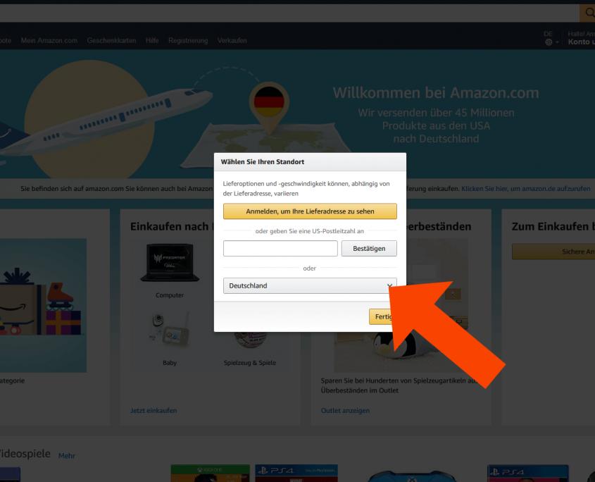 Liefern nach Deutschland wählen