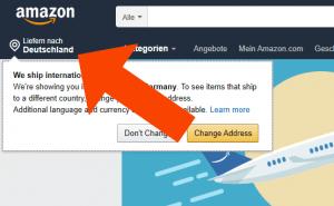 Browser Länderwahl beim Amazon.com
