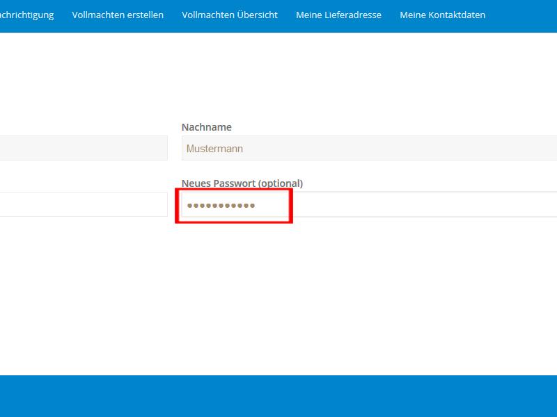 Kontaktdaten: Passwort ändern