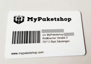 Foto der neuen Kundenkarte von MyPaketshop