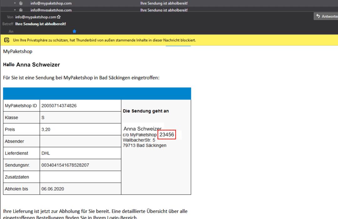 MyPaketshop-Kundennummer in der E-Mail finden