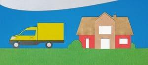Paketlieferfahrzeug vor einem Haus