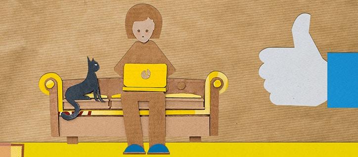 Frau auf Bank mit Laptop und Katze (grafisch)