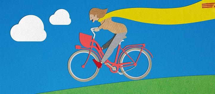 Begeisterte Fahrrad Fahrerin