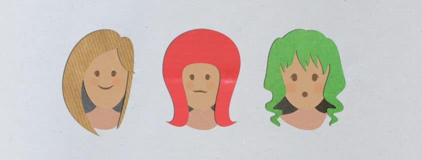 3 Köpfe mit verschiedenen Frisuren