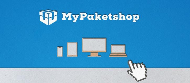 Hand zeigt auf Laptop, PC, Tablet und Smartphone (grafisch)