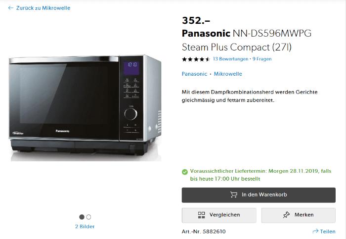 Panasonic NN-DS596 mit Dampfgarer