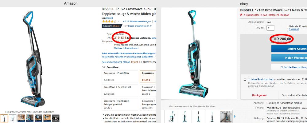 Preisvergleich Boden-Wisch-Sauger Amazon's Choice und ebay