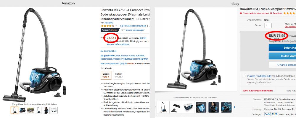 Preisvergleich Staubsauger Amazon's Choice und ebay