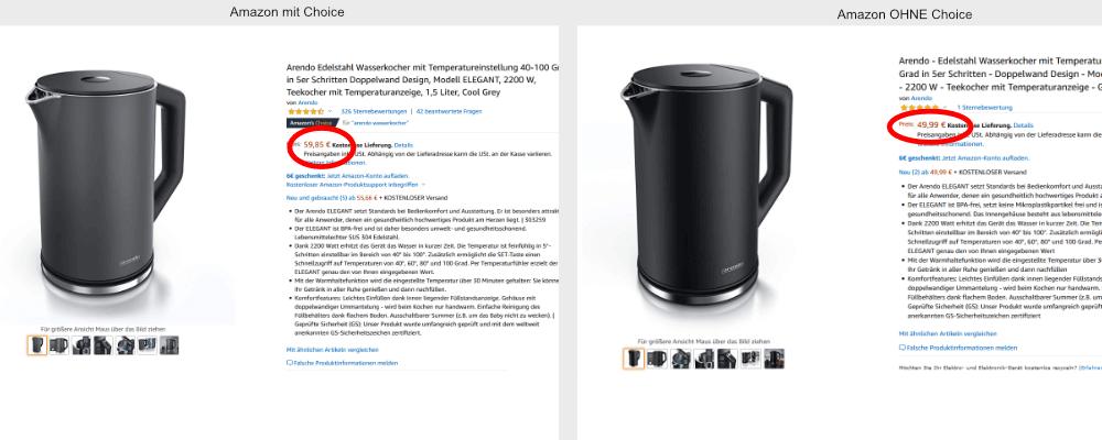 Preisvergleich Staubsauger Amazon's Choice und Amazon ohne Choice