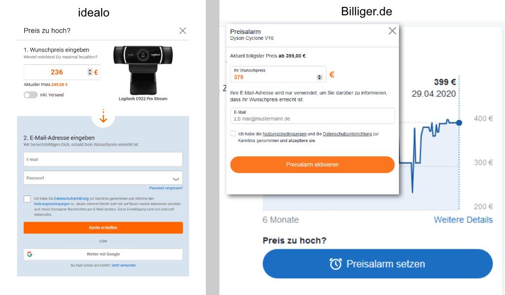 Preisalarm auf billiger.de und bei idealo