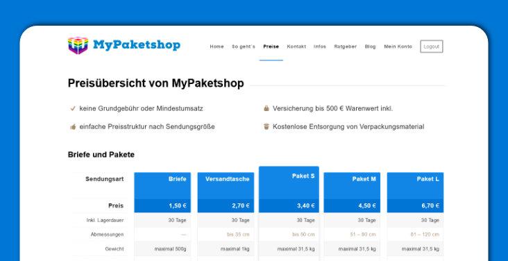 """Alle Gebühren im Detail finden Sie auf unserer """"[Preise](https://www.mypaketshop.com/unsere-preise/)""""-Seite."""