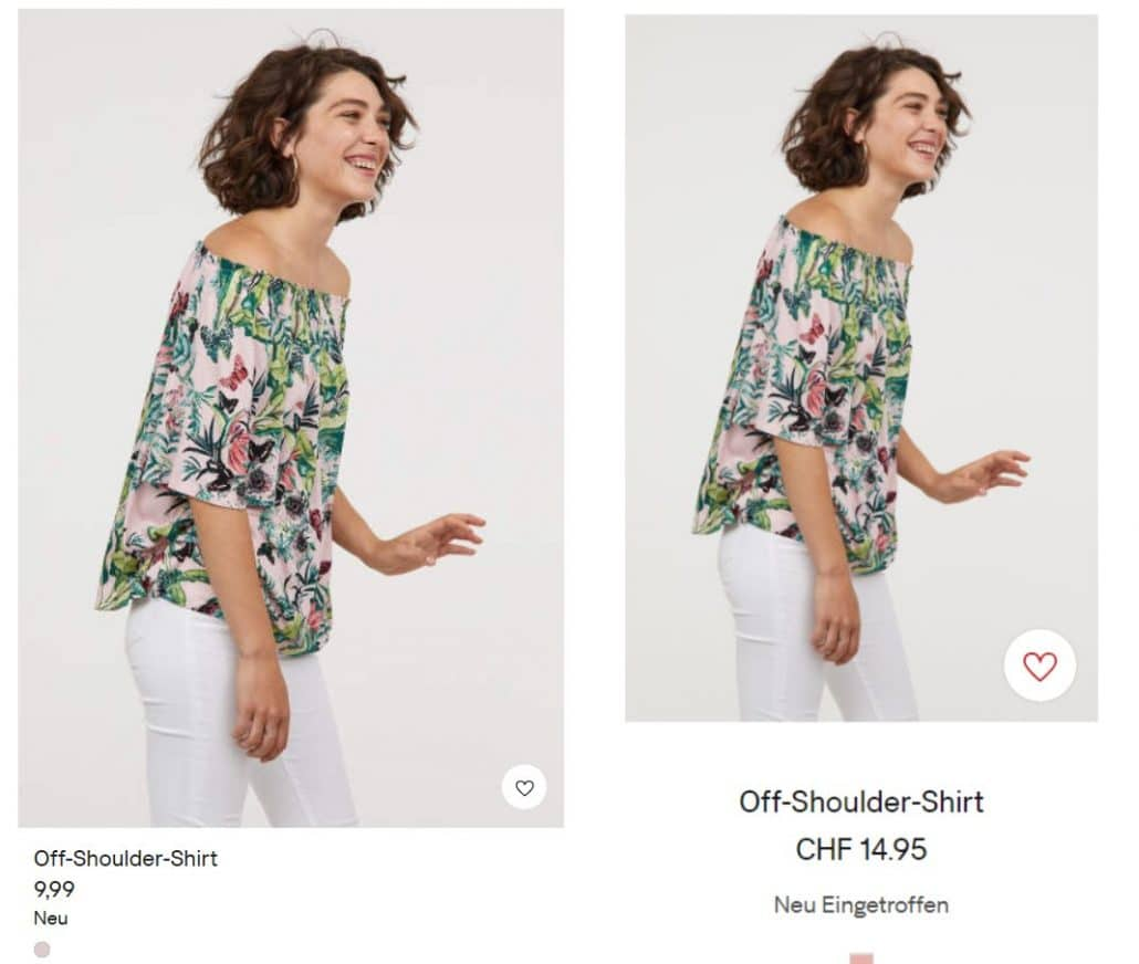 H&M-Preis in Deutschland und der Schweiz (Bild: Screenshot H&M-Deutschland , H&M-Schweiz)