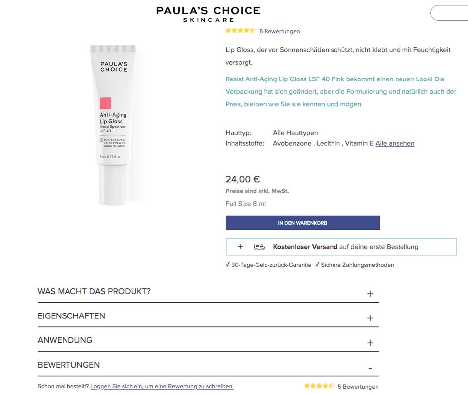 Produktansicht im Online-Shop von Paula's Choice