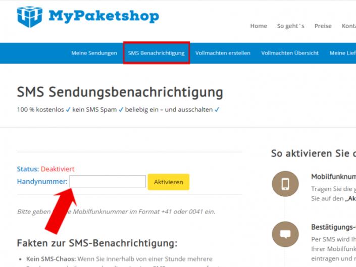SMS: Feld um Handynummer einzugeben