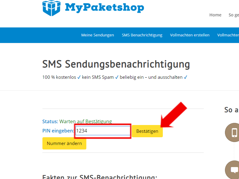 SMS: Pin eingeben und bestätigen