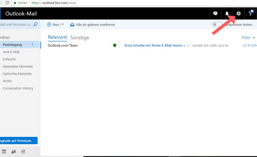 Whitelist bei Outlook einrichten Schritt 1