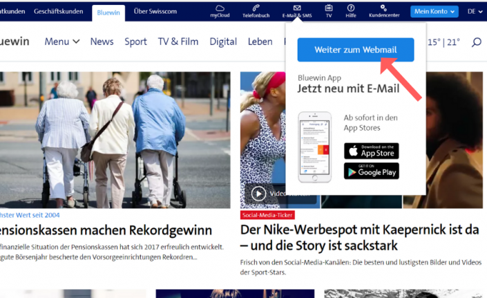 Whitelist bei Bluewin (Swisscom) einrichten Schritt 1
