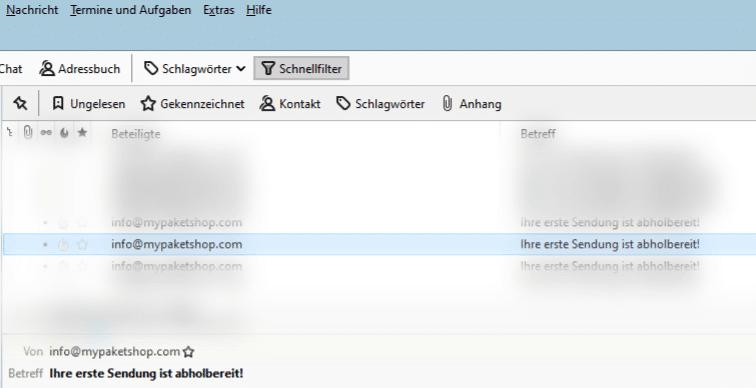 E-Mail mit Betreff Ihre erste Sendung ist abholbereit!