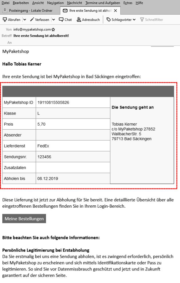 Alle Information der Abhol-E-Mail