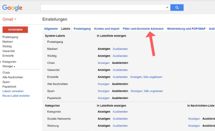 Whitelist erstellen Gmail Schritt 3