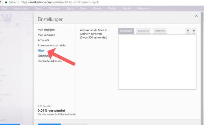 Whitelist bei Yahoo einrichten Schritt 3