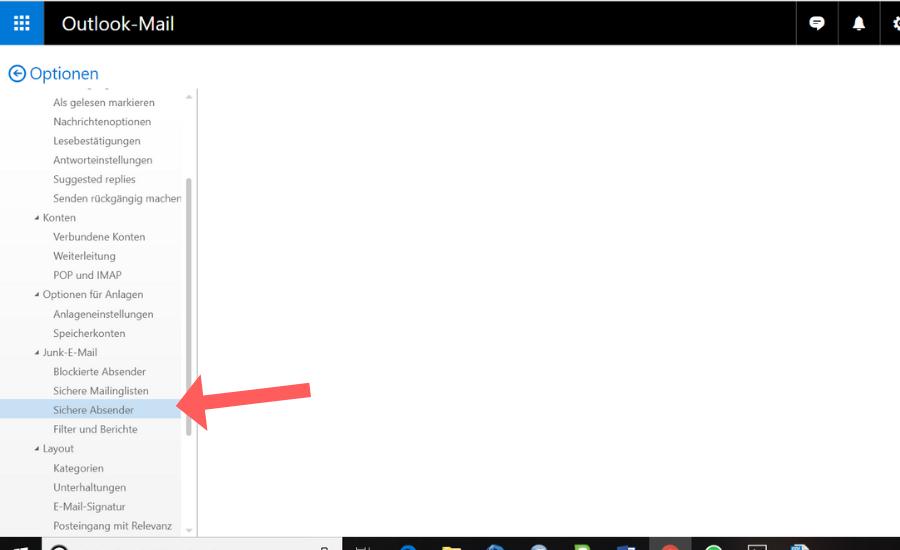 Whitelist bei Outlook einrichten Schritt 3
