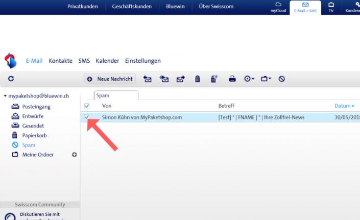 Whitelist bei Bluewin (Swisscom) einrichten Schritt 3