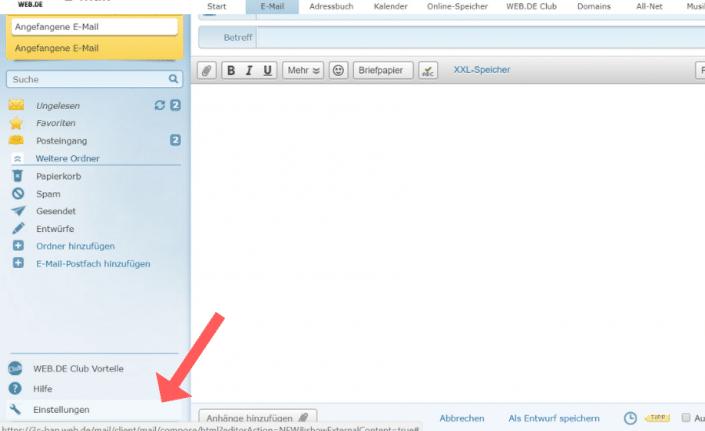 web.de Erwünscht-Liste einrichten Schritt 3