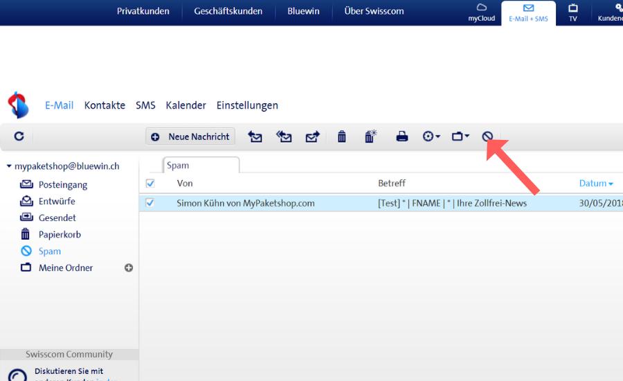 Whitelist bei Bluewin (Swisscom) einrichten Schritt 4