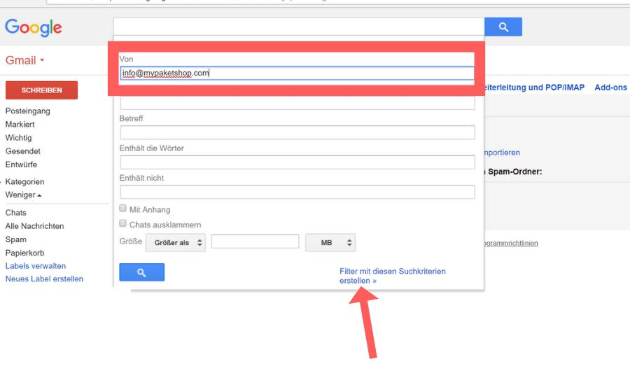 Whitelist erstellen Gmail Schritt 5
