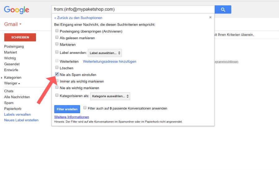 Whitelist erstellen Gmail Schritt 6