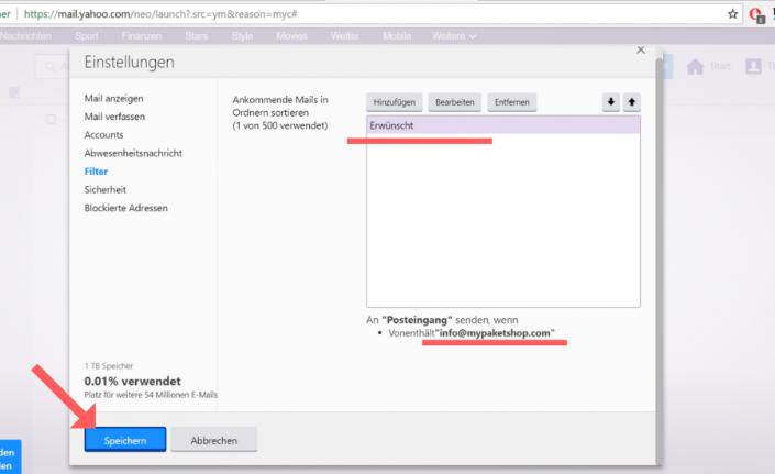 Whitelist bei Yahoo einrichten Schritt 6