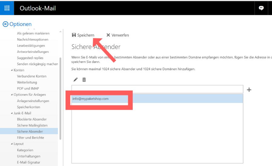 Whitelist bei Outlook einrichten Schritt 6