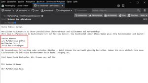 E-Mail mit Lieferadresse
