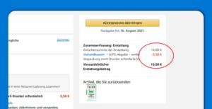 Retoure zu Amazon - Grund für Abzug der Versandkosten