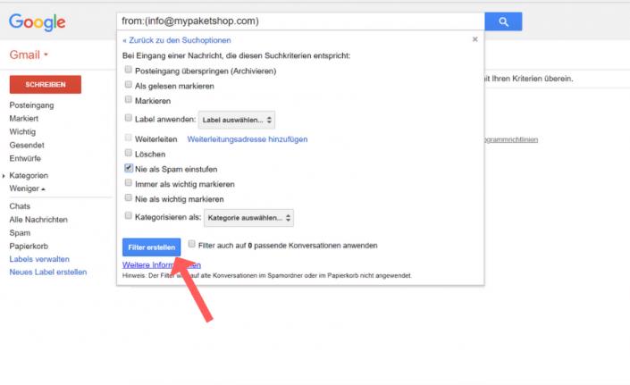 Whitelist erstellen Gmail Schritt 7