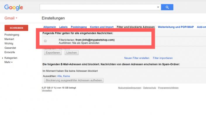 Whitelist erstellen Gmail Schritt 8