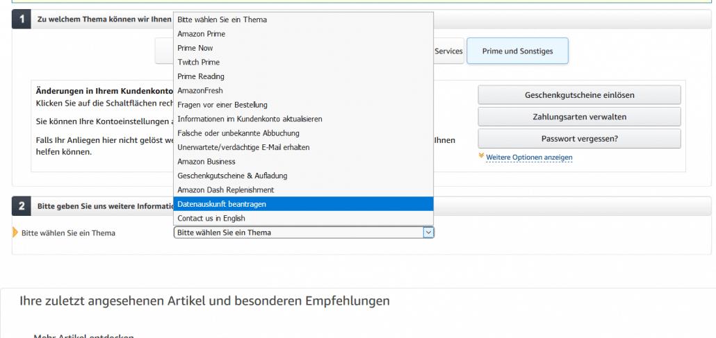 Amazon kontaktieren Themenauswahl